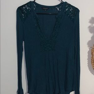 lucky brand teal knit top